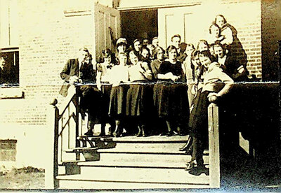Photograph of students on steps