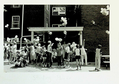 Photograph of Balloon Release in front of Stirling Manor