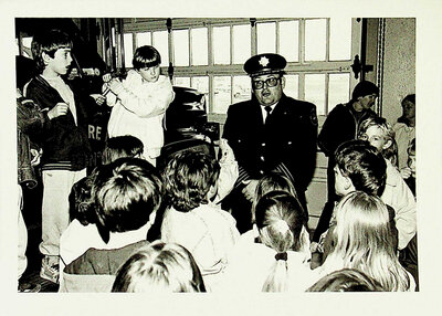 Photograph of class visit to the fire station