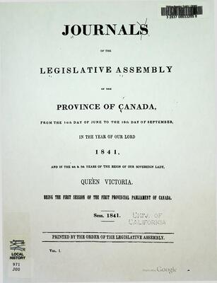 Journals of the Legislative Assembly of the Province of Canada, 1841