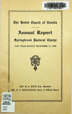 The United Church of Canada Annual Report Springbrook Pastoral Charge, 1929