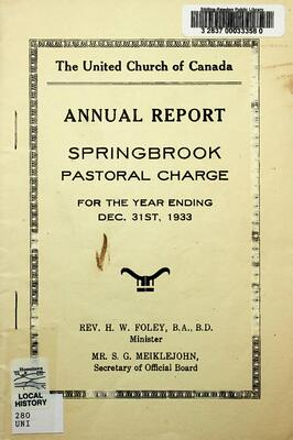 The United Church of Canada Annual Report Springbrook Pastoral Charge 1933
