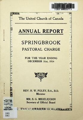 The United Church of Canada Springbrook Pastoral Charge, 1934