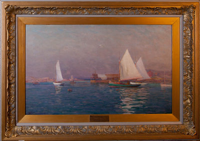Untitled (seascape with sailboats)