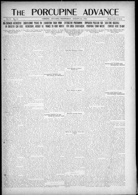 Porcupine Advance, 3 Aug 1921