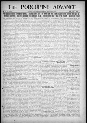 Porcupine Advance, 31 Aug 1921