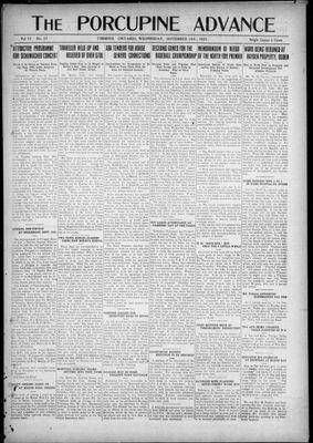 Porcupine Advance, 14 Sep 1921
