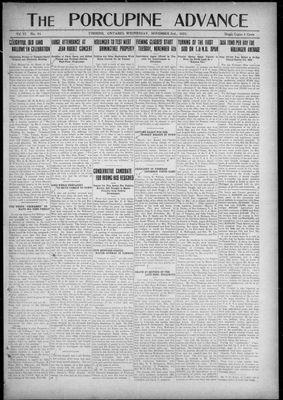 Porcupine Advance, 2 Nov 1921
