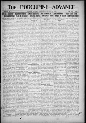 Porcupine Advance, 1 Feb 1922