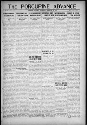 Porcupine Advance, 8 Feb 1922