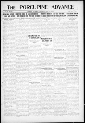 Porcupine Advance, 31 May 1922