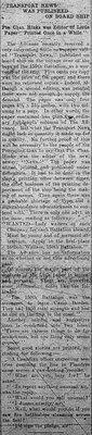 "World War I - ""Transport News"" was published on board ship"
