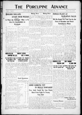 Porcupine Advance, 18 Oct 1912