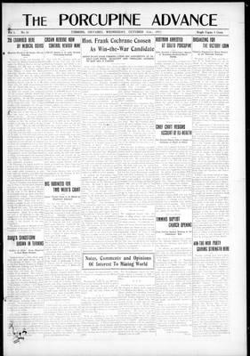 Porcupine Advance, 31 Oct 1917