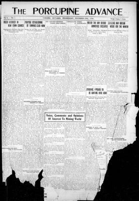 Porcupine Advance, 27 Nov 1918