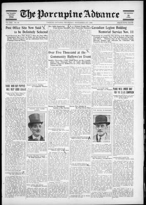 Porcupine Advance, 1 Nov 1928