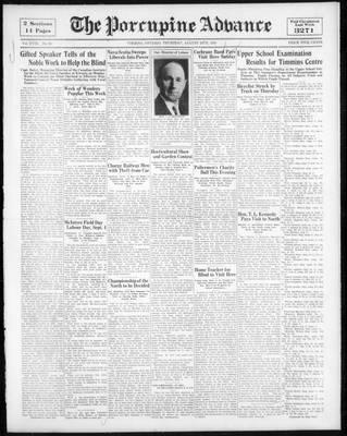 Porcupine Advance, 24 Aug 1933