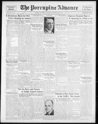Porcupine Advance, 30 Nov 1933