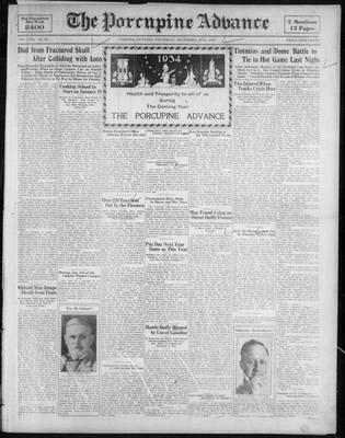 Porcupine Advance, 28 Dec 1933