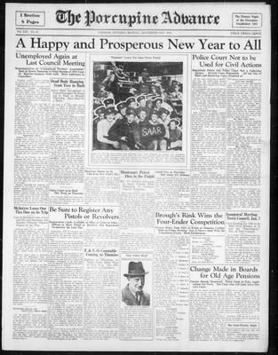 Porcupine Advance, 31 Dec 1934