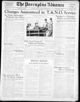 Porcupine Advance, 20 May 1935