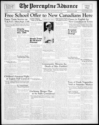 Porcupine Advance, 21 Sep 1936