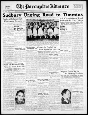 Porcupine Advance, 20 Oct 1938
