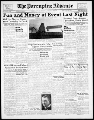 Porcupine Advance, 17 Nov 1938