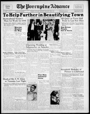 Porcupine Advance, 23 Jan 1939