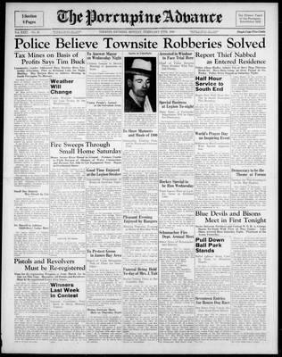 Porcupine Advance, 27 Feb 1939