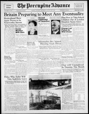 Porcupine Advance, 31 Aug 1939