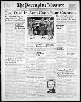 Porcupine Advance, 18 Sep 1939