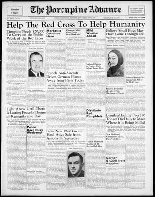 Porcupine Advance, 13 Nov 1939