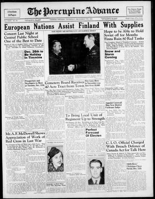 Porcupine Advance, 7 Dec 1939
