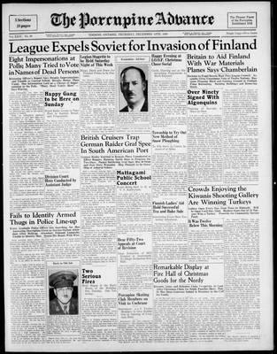 Porcupine Advance, 14 Dec 1939