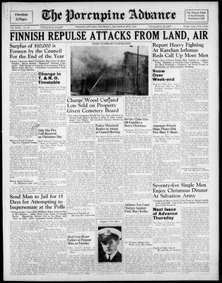 Porcupine Advance, 28 Dec 1939