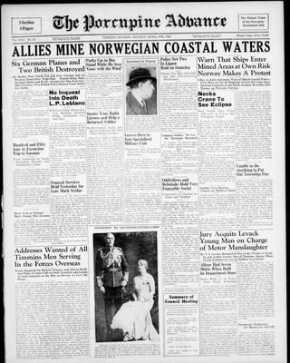 Porcupine Advance, 8 Apr 1940