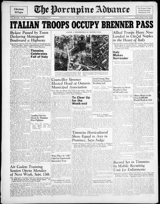Porcupine Advance, 9 Sep 1943