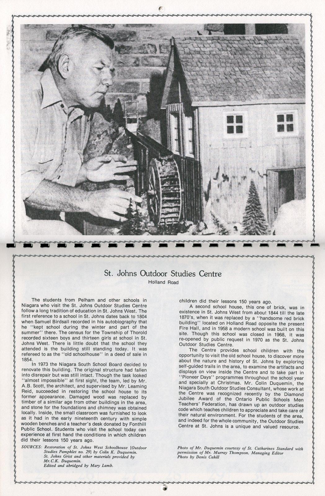 """Pelham Historical Calendar 1982: """"St. Johns Outdoor Studies Centre"""""""