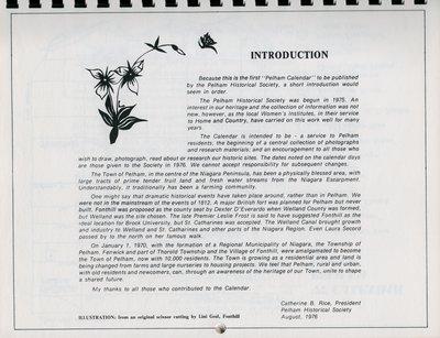 "Pelham Historical Calendar 1977: ""Introduction"""