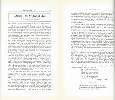 Pelham Pnyx 1933 - Address to the Graduating Class