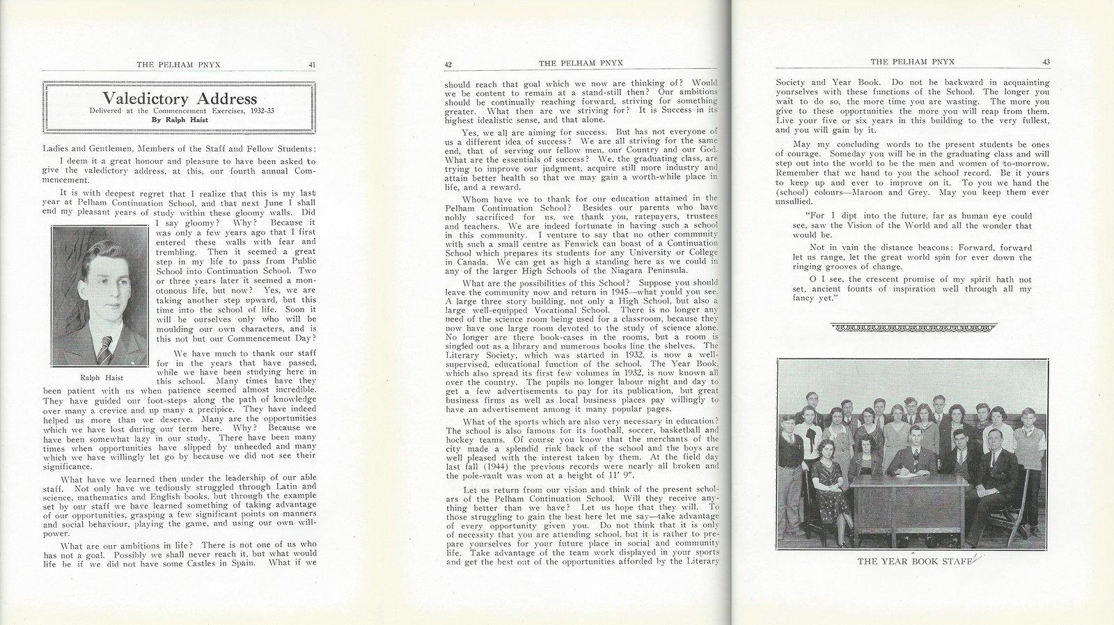 Pelham Pnyx 1933 - Valedictory Address