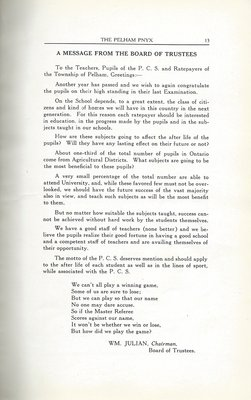 Pelham Pnyx 1935 - A Message from the Board of Trustees