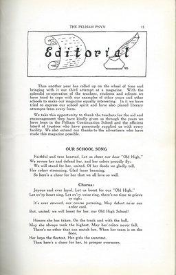 Pelham Pnyx 1935 - Editorial