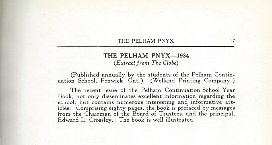 Pelham Pnyx 1935 - The Pelham Pnyx 1934 (Extract from The Globe)