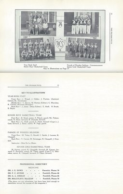 Pelham Pnyx 1935 - Photographs of Year Book Staff, Parade of Wooden Soldiers, and the Senior Girls and Boys' Basketball Teams
