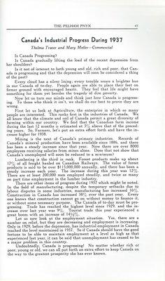 "Pelham Pnyx 1938 - ""Canada's Industrial Progress During 1937"""