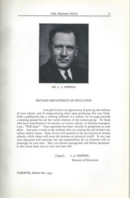 Pelham Pnyx 1939 - Acknowledgement from Minister of Education