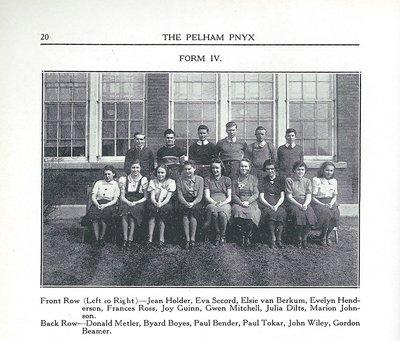 Pelham Pnyx 1939 - Class Photograph of Form IV