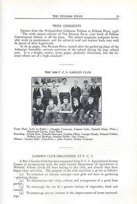 Pelham Pnyx 1939 - Welland Tribune Comments on Pelham Pnyx, and P.C.S. Garden Club Photograph and Information